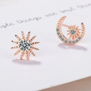 Rose Gold Mismatched Sun and Moon Post Earrings
